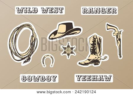 Wild West Vector Sticker Set. Hand Drawn Illustration With Silhouette Of Horseshoe, Sheriff Badge, B