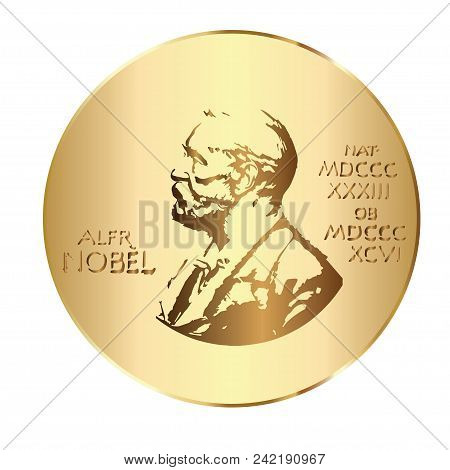 May 21, 2018: Vector Illustration Of Alfred Nobel On The Nobel Prize Medal.