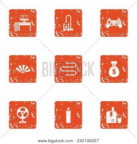 Gamer Money Icons Set. Grunge Set Of 9 Gamer Money Vector Icons For Web Isolated On White Background