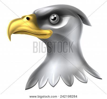 An Illustration Of A Shiny Metallic Bald Eagle Head