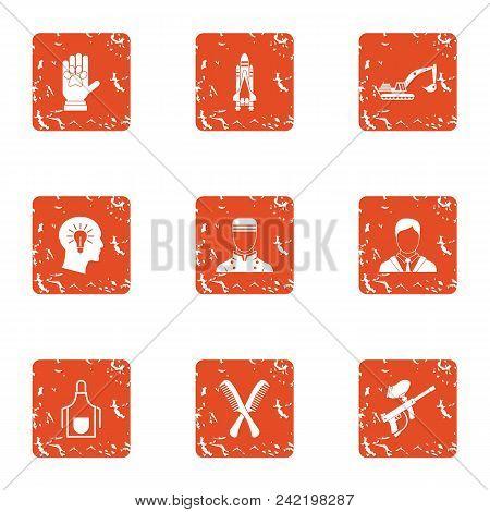 Technical Training Icons Set. Grunge Set Of 9 Technical Training Vector Icons For Web Isolated On Wh