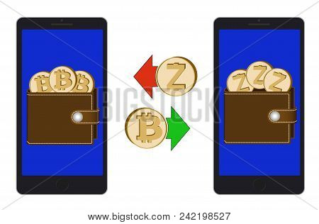 Exchange Between Bitcoin And Zcash In The Phone On A White Background , Exchange Cryptocurrency In T