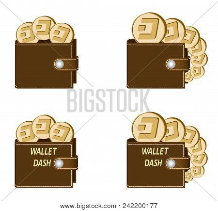 Set Of Brown Wallets With Dash Coins On A White Background , Crypto Currency In The Wallet,sign  Cry