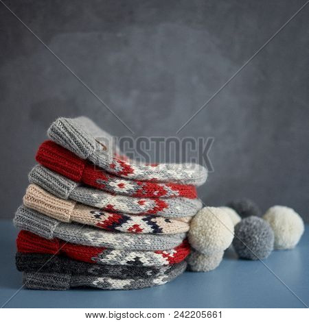 Four Knitted Winter Hats , Selective Focus, Vintage