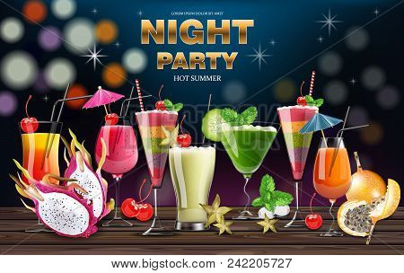 Cocktail Drinks Vector Realistic Banner. Night Party Template With Summer Drinks Collection. 3d Illu
