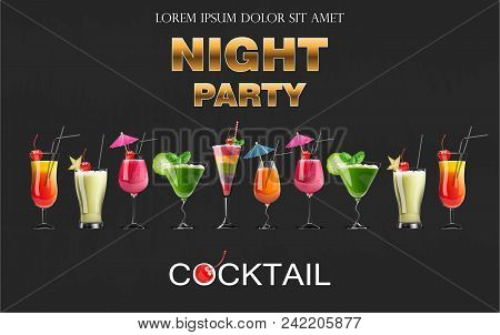 Cocktail Drinks Vector Realistic Banner. Night Party Template With Summer Drinks Set Collection. 3d