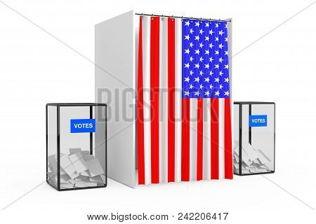 Ballot Boxes Near White Voting Booth With Curtain And Usa Flag On A White Background. 3d Rendering