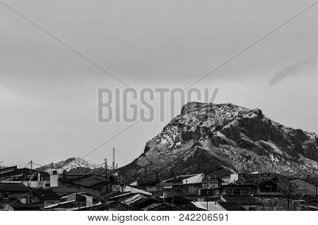Snowy Mountain Landscape (el Cid) From Monovar. Landscape With Telephoto