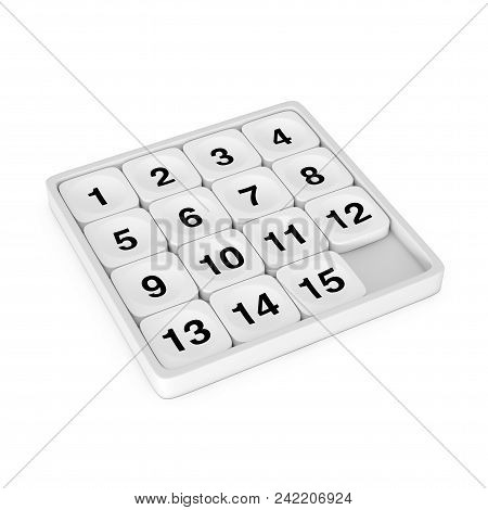 White Pocket Sliding Fifteen Rebus Puzzle Game on a white background. 3d Rendering poster