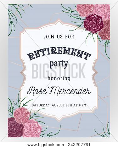 Retirement party invitation vector photo bigstock retirement party invitation design template with rose gold polygonal frame and carnation flowers in watercolor style vector illustration stopboris Images