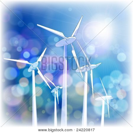 Ecology concept: wind-driven generators, rays of light & blue sky.  Bitmap copy my vector ID 64890832
