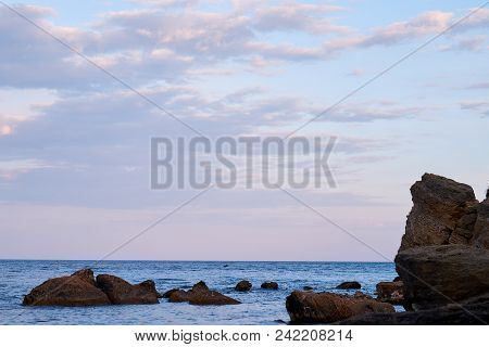 Sea Waves Rolling On Stones Beautiful Landscape