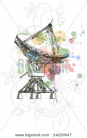 Satellite dishes antenna - doppler radar & color paint background. Bitmap copy my vector ID 70695103