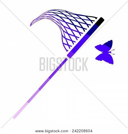 Butterfly Net  Icon. Flat Color Design. Vector Illustration.