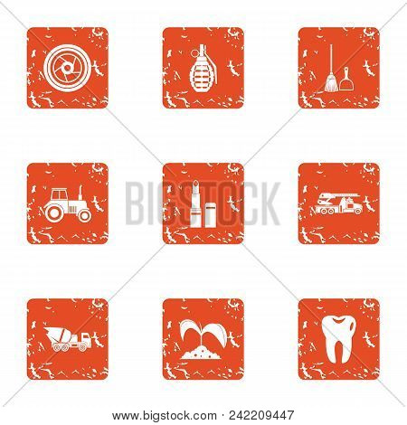 Garden Establishment Icons Set. Grunge Set Of 9 Garden Establishment Vector Icons For Web Isolated O