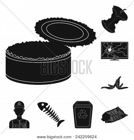 Garbage And Waste Black Icons In Set Collection For Design. Cleaning Garbage Vector Symbol Stock  Il