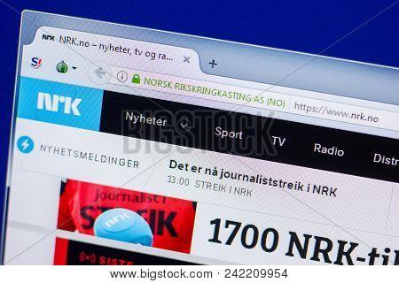 Ryazan, Russia - May 20, 2018: Homepage Of Nrk Website On The Display Of Pc, Url - Nrk.no