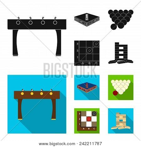 Board Game Black, Flat Icons In Set Collection For Design. Game And Entertainment Vector Symbol Stoc