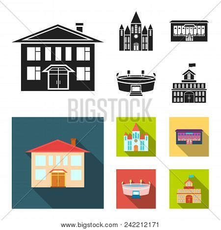 House Of Government, Stadium, Cafe, Church.building Set Collection Icons In Black, Flat Style Vector