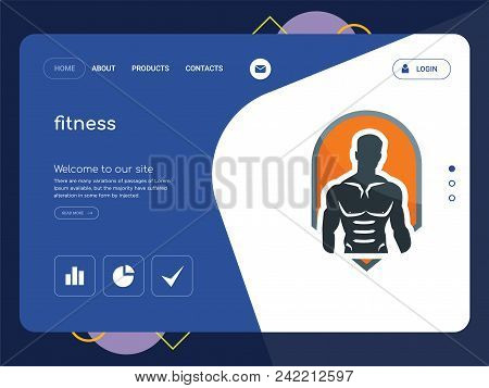 Quality One Page Fitness Website Template Vector Eps, Modern Web Design With Flat Ui Elements And La