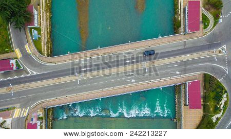 Top-down Drone View Of The Kubanskiy Bridge Over Sochi River, Russia