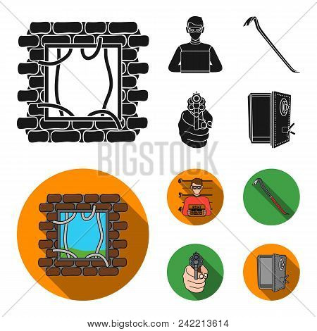 Photo Of Criminal, Scrap, Open Safe, Directional Gun.crime Set Collection Icons In Black, Flat Style