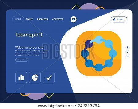 Quality One Page Teamspirit Website Template Vector Eps, Modern Web Design With Flat Ui Elements And