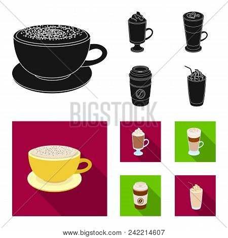 Mocha, Macchiato, Frappe, Take Coffee.different Types Of Coffee Set Collection Icons In Black, Flat