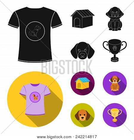 Dog House, Protective Collar, Dog Muzzle, Cup. Dog Set Collection Icons In Black, Flat Style Vector