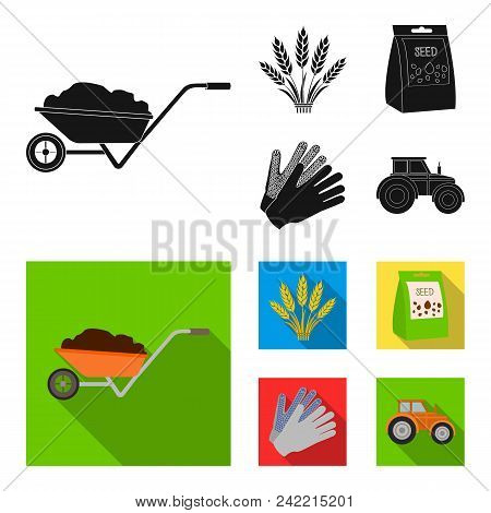 Spikelets Of Wheat, A Packet Of Seeds, A Tractor, Gloves.farm Set Collection Icons In Black, Flat St