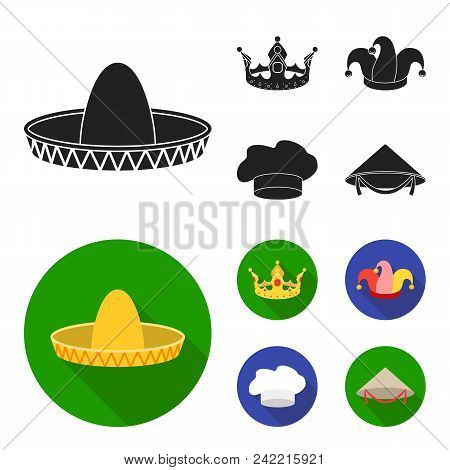 Crown, Jester Cap, Cook, Cone. Hats Set Collection Icons In Black, Flat Style Vector Symbol Stock Il