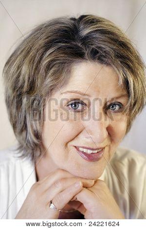Pretty brunette senior lady portrait