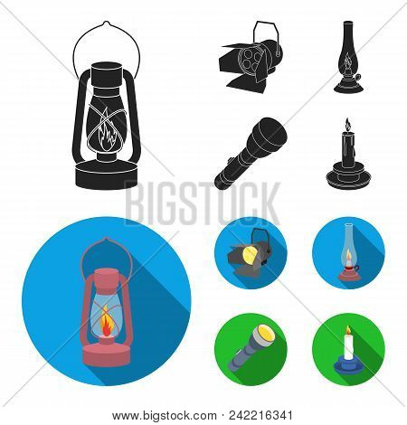 Searchlight, Kerosene Lamp, Candle, Flashlight.light Source Set Collection Icons In Black, Flat Styl