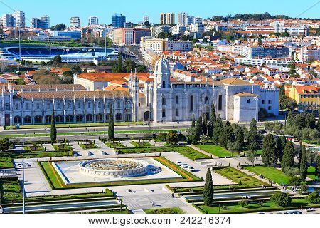 Lisbon, Portugal Aerial View With Jeronimos Monastery Or Hieronymites Monastery