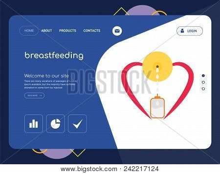 Quality One Page Breastfeeding Website Template Vector Eps, Modern Web Design With Flat Ui Elements