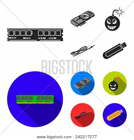 Video Card, Virus, Flash Drive, Cable. Personal Computer Set Collection Icons In Black, Flat Style V