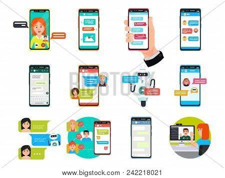 Online Video, Messenger Chatting On Smartphone, Laptop And Computer Vector Illustration Set. Flat Co