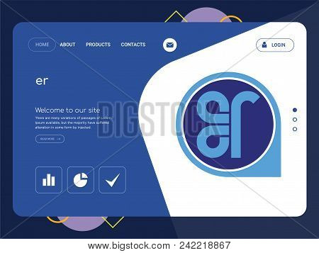 Quality One Page Er Website Template Vector Eps, Modern Web Design With Flat Ui Elements And Landsca