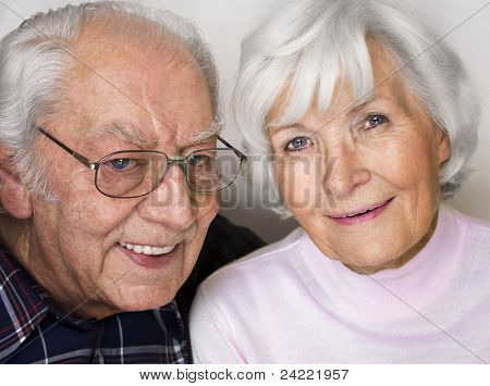 Happy senior couple smiling for a portrait