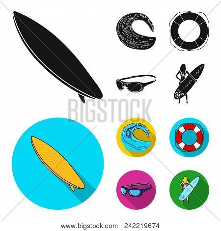 Oncoming Wave, Life Ring, Goggles, Girl Surfing. Surfing Set Collection Icons In Black, Flat Style V