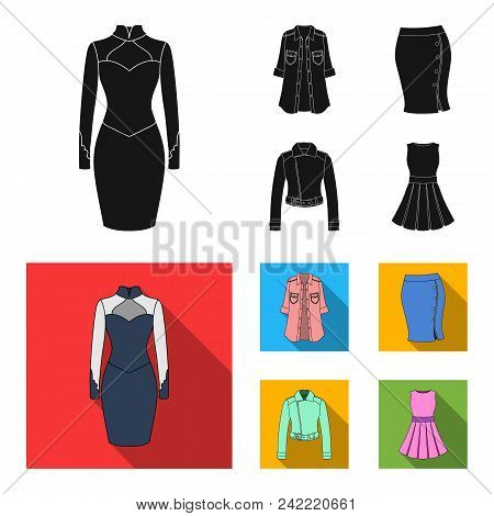 Women Clothing Black, Flat Icons In Set Collection For Design.clothing Varieties And Accessories Vec