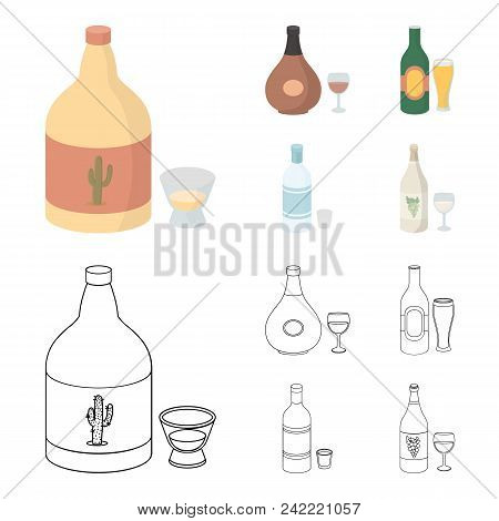 Tequila, Cognac, Beer, Vodka.alcohol Set Collection Icons In Cartoon, Outline Style Vector Symbol St