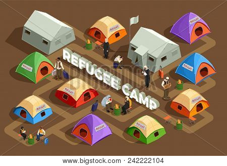 Stateless Refugees Asylum Icons Isometric Composition With View Of Reception Camp With Tents And Hum