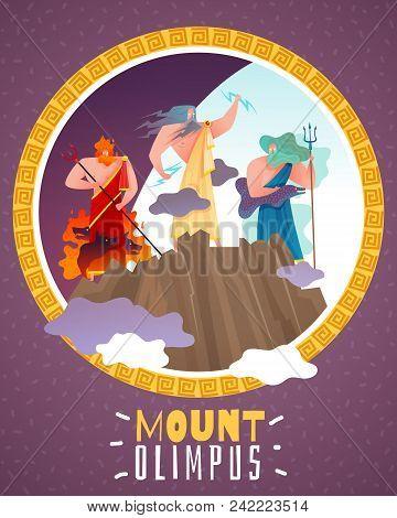 Mount Olimpus Cartoon Poster With Ancient Greece Gods Zeus Poseidon Hephaestus Flat Vector Illustrat