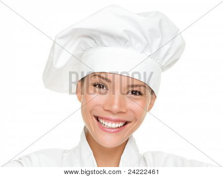 Woman chef, cook or baker portrait. Beautiful young mixed race Chinese Asian / Caucasian female chef wearing chef hat isolated on white background.