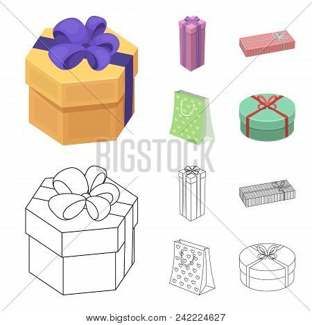 Gift Box With Bow, Gift Bag.gifts And Certificates Set Collection Icons In Cartoon, Outline Style Ve