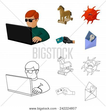 Hacker, Hacking, System, Internet .hackers And Hacking Set Collection Icons In Cartoon, Outline Styl