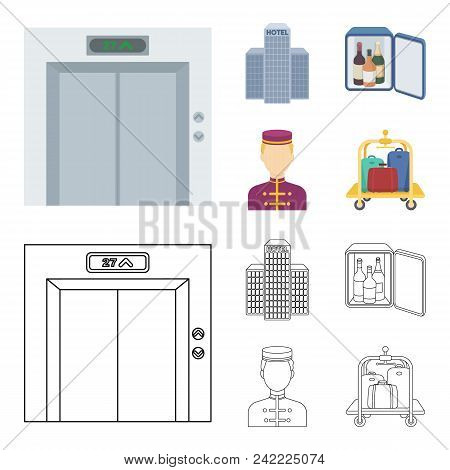 Elevator Car, Mini Bar, Staff, Building.hotel Set Collection Icons In Cartoon, Outline Style Vector