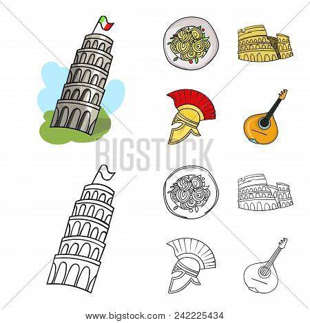 Pisa Tower, Pasta, Coliseum, Legionnaire Helmet.italy Country Set Collection Icons In Cartoon, Outli