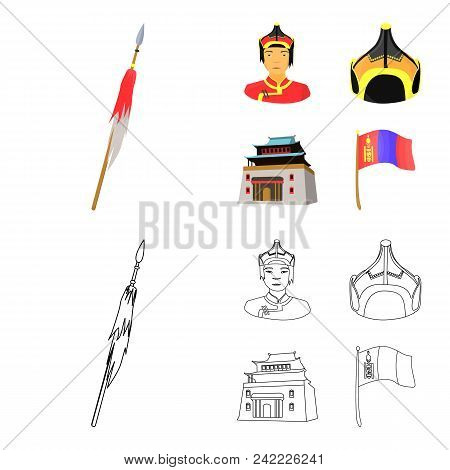 Military Spear, Mongolian Warrior, Helmet, Building.mongolia Set Collection Icons In Cartoon, Outlin